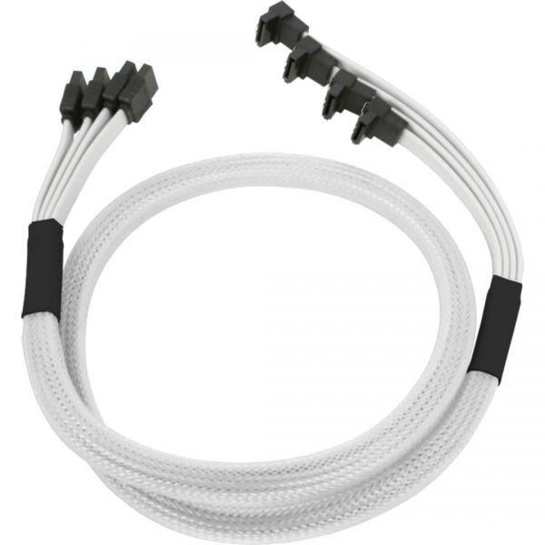 Nanoxia 4x 7-Pin SATA auf 4x 7-Pin SATA Stecker abgewinkelt 85 cm Anschlusskabel weiß (NXS6GWH)