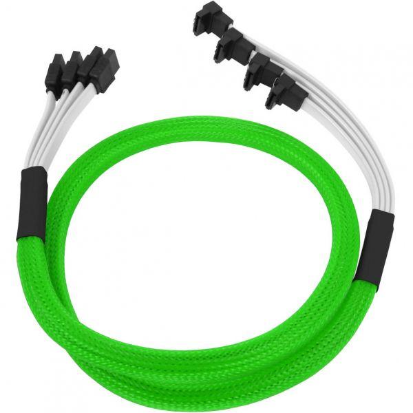 Nanoxia 4x 7-Pin SATA auf 4x 7-Pin SATA Stecker abgewinkelt 85 cm Anschlusskabel neon grün (NXS6GSCN