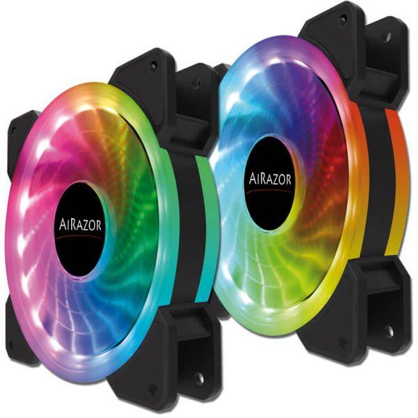 LC-Power AiRazor LC-CF-Pro-RGB-Combo 2er Set 120 mm Lüfter LED RGB (LC-CF-PRO-RGB-COMBO)