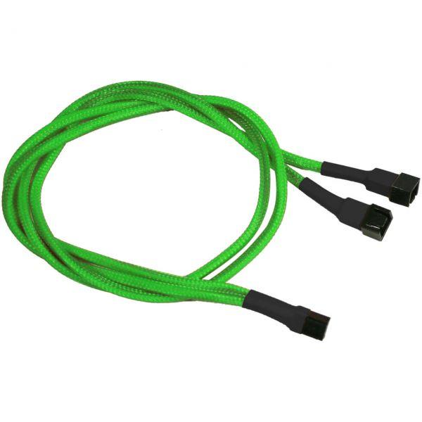 Nanoxia 3-Pin Molex auf 2x 3-Pin Molex 60 cm Verteilerkabel neon grün (NX3PY60NG)
