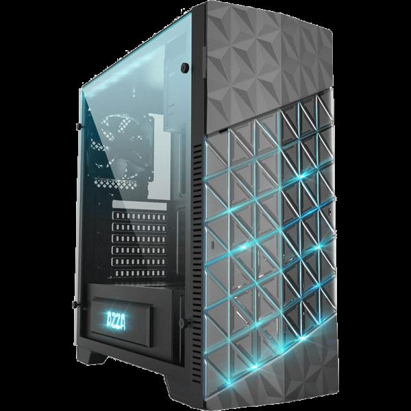 AZZA Onyx 260 schwarz Midi Tower mit Glasfenster