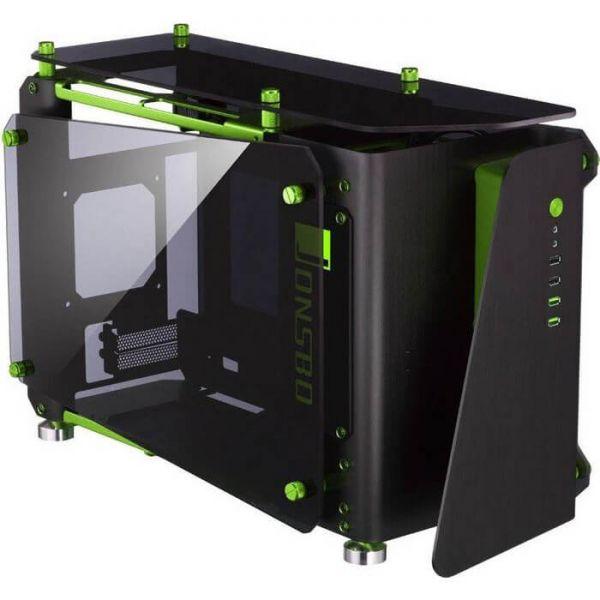 Jonsbo MOD1 Mini schwarz/grün ITX Tower mit Glasfenster