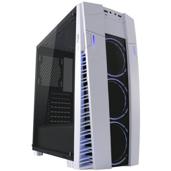 LC-Power 992 W Solar Flare weiß/schwarz Midi Tower mit Acrylfenster