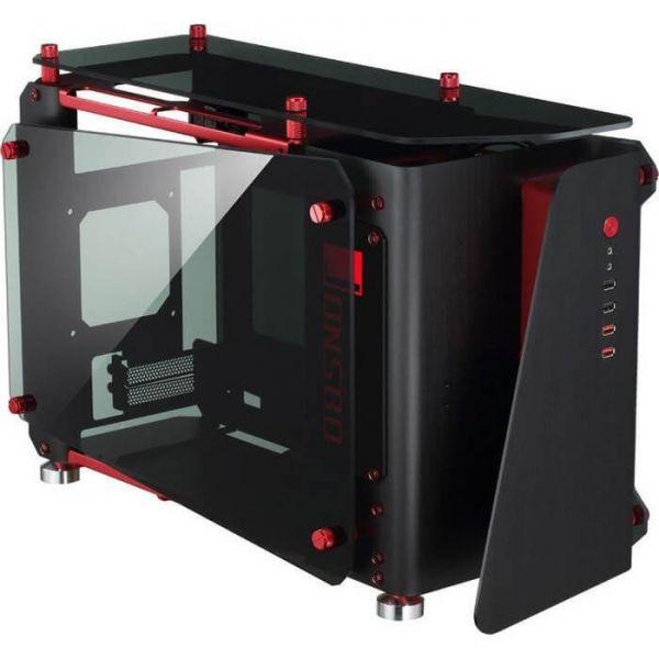 Jonsbo MOD1 Mini schwarz/rot ITX Tower mit Glasfenster