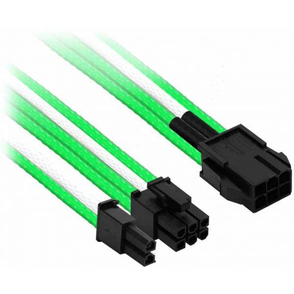 Nanoxia 6-Pin PCIe auf 6+2-Pin PCIe 30 cm Verlängerung grün/weiß (NXP683EGW)