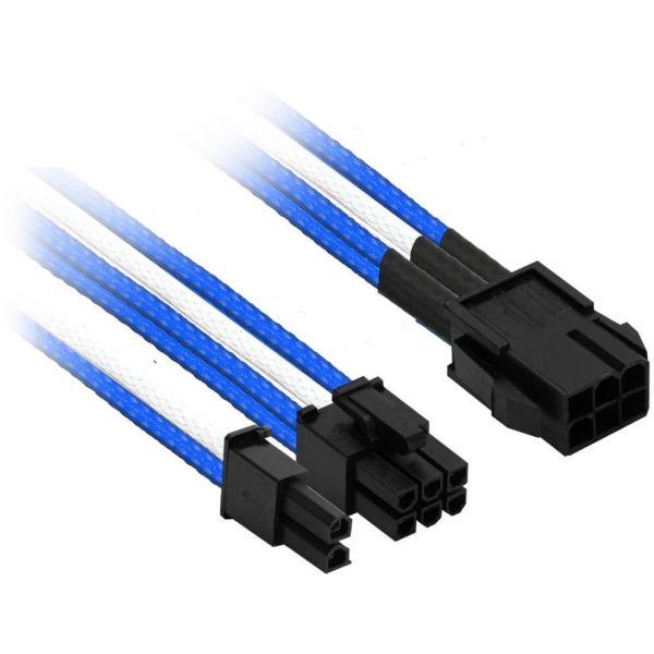 Nanoxia 6-Pin PCIe auf 6+2-Pin PCIe 30 cm Verlängerung blau/weiß (NXP683EBW)