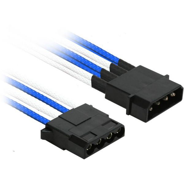 Nanoxia 4-Pin Molex auf 2x 4-Pin Molex 20 cm Verteilerkabel blau/weiß (NX4PY2EBW)