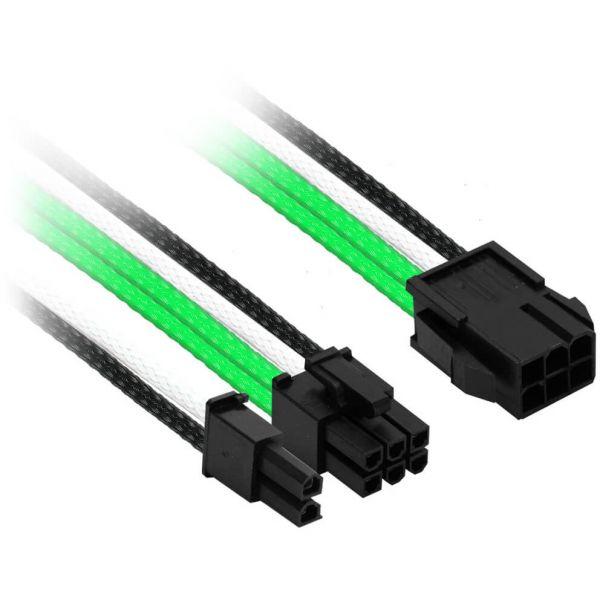 Nanoxia 6-Pin PCIe auf 6+2-Pin PCIe 30 cm Verlängerung grün/schwarz/weiß (NXP683EGWS)