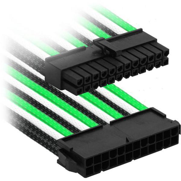 Nanoxia 24-Pin ATX 30 cm Verlängerung grün/schwarz/weiß (NX24V3EGWS)