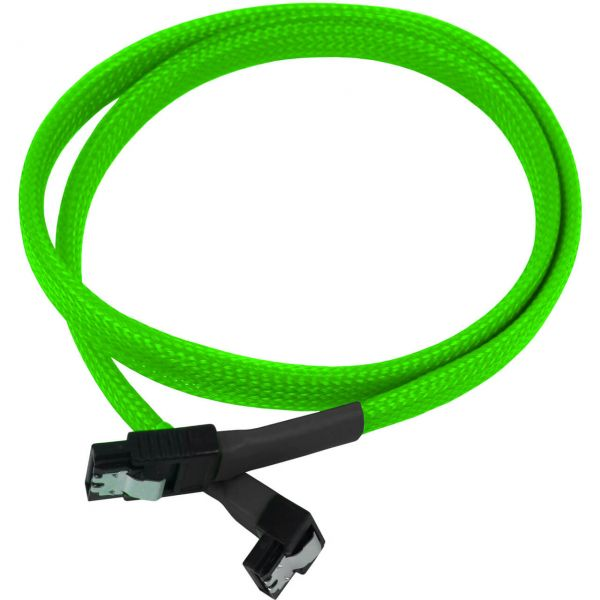 Nanoxia 7-Pin SATA auf 7-Pin SATA Stecker abgewinkelt 60 cm Anschlusskabel neon grün (NXS6G60NG)
