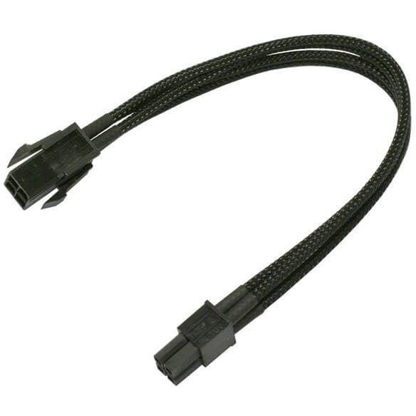 Nanoxia 8-Pin EPS auf 2x 4-Pin EPS 30 cm Verlängerung schwarz (NX8PV3E)
