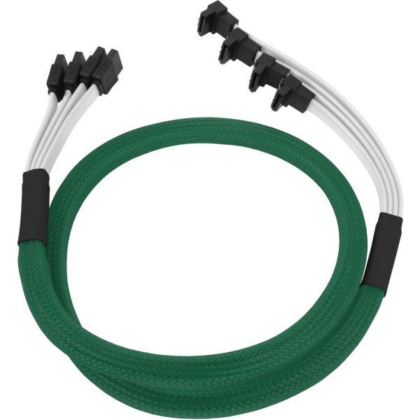 Nanoxia 4x 7-Pin SATA auf 4x 7-Pin SATA Stecker abgewinkelt 85 cm Anschlusskabel grün (NXS6GGR)