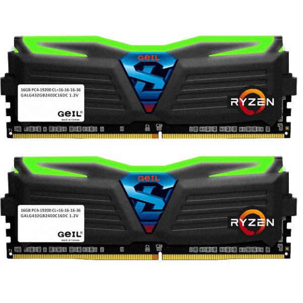 GeIL Super Luce AMD Edition 16 GB DDR4-2400 DIMM CL16 Dual Kit schwarz (GALG416GB2400C16DC)