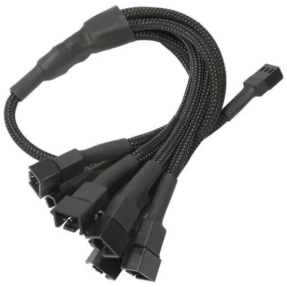 Nanoxia 3-Pin Molex auf 9x 3-Pin Molex 60 cm Verteilerkabel schwarz (NX39A60)
