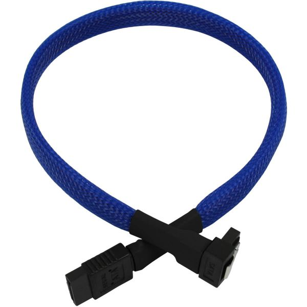 Nanoxia 7-Pin SATA auf 7-Pin SATA Stecker abgewinkelt 30 cm Anschlusskabel blau (NXS6G3B)