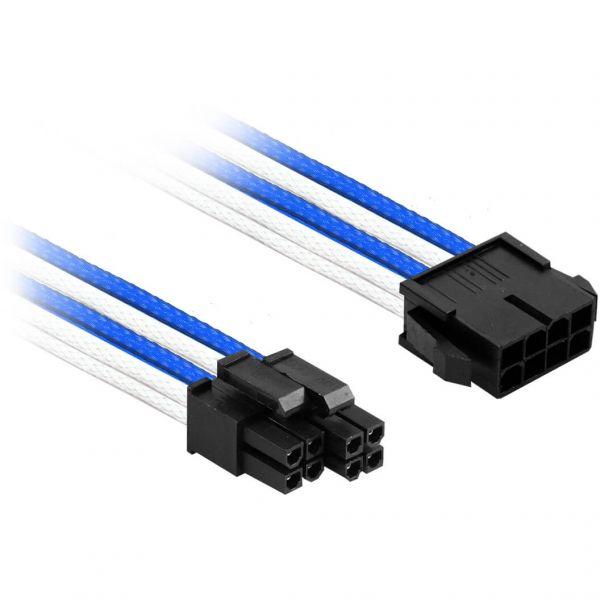 Nanoxia 8-Pin EPS auf 2x 4-Pin EPS 30 cm Verlängerung blau/weiß (NX8PV3EBW)