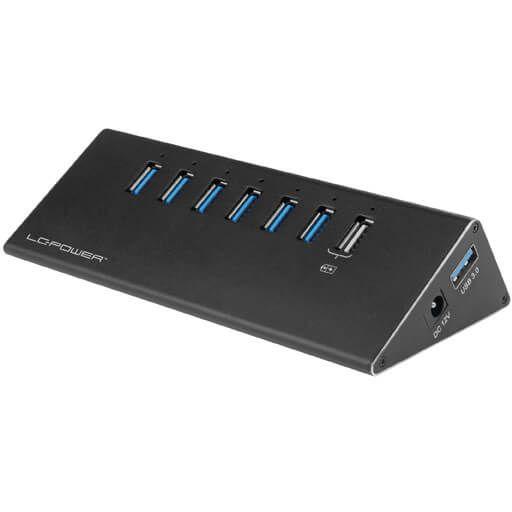 LC-Power LC-HUB-ALU-2B-7 USB Hub extern USB 3.0 Typ-A schwarz