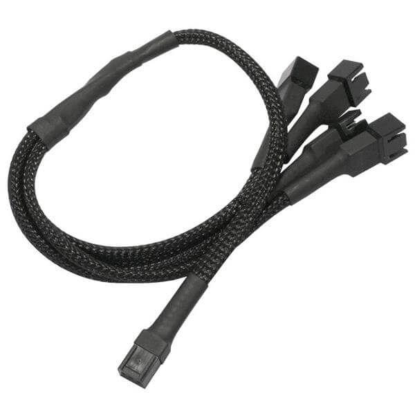 Nanoxia 3-Pin Molex auf 4x 3-Pin Molex 30 cm Verteilerkabel schwarz (NX34A30)