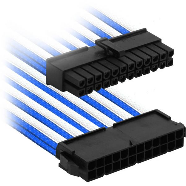 Nanoxia 24-Pin ATX 30 cm Verlängerung blau/weiß (NX24V3EBW)
